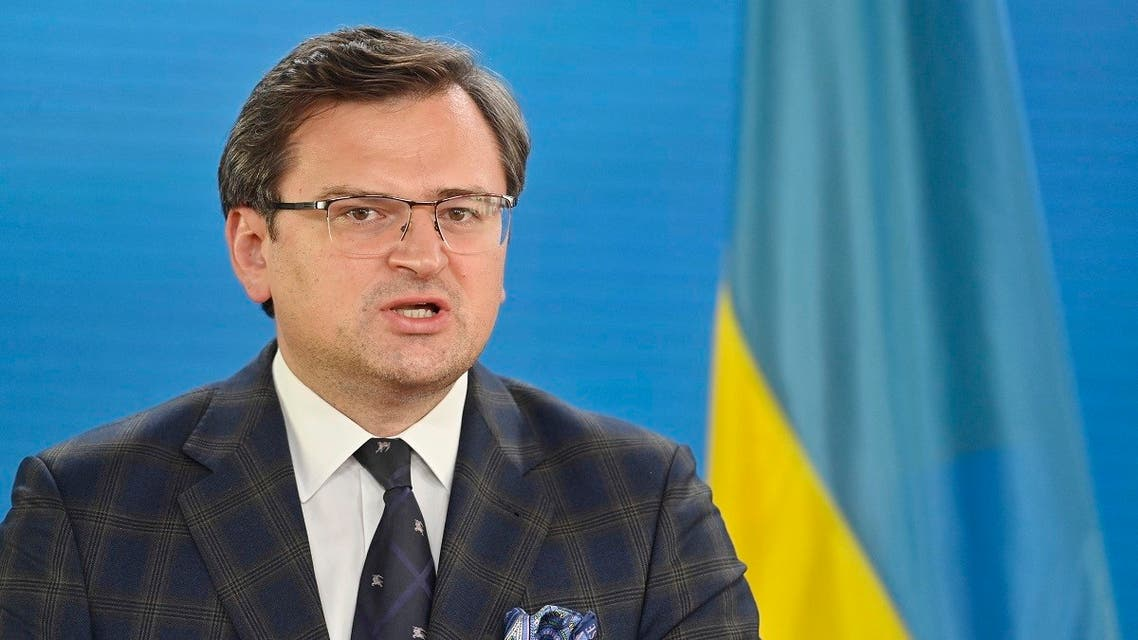 Ukraine's Foreign Minister Dmytro Kuleba speaks during a joint press conference with his German counterpart, in Berlin, Germany, on June 9, 2021. (John MacDougall/AFP/Pool)