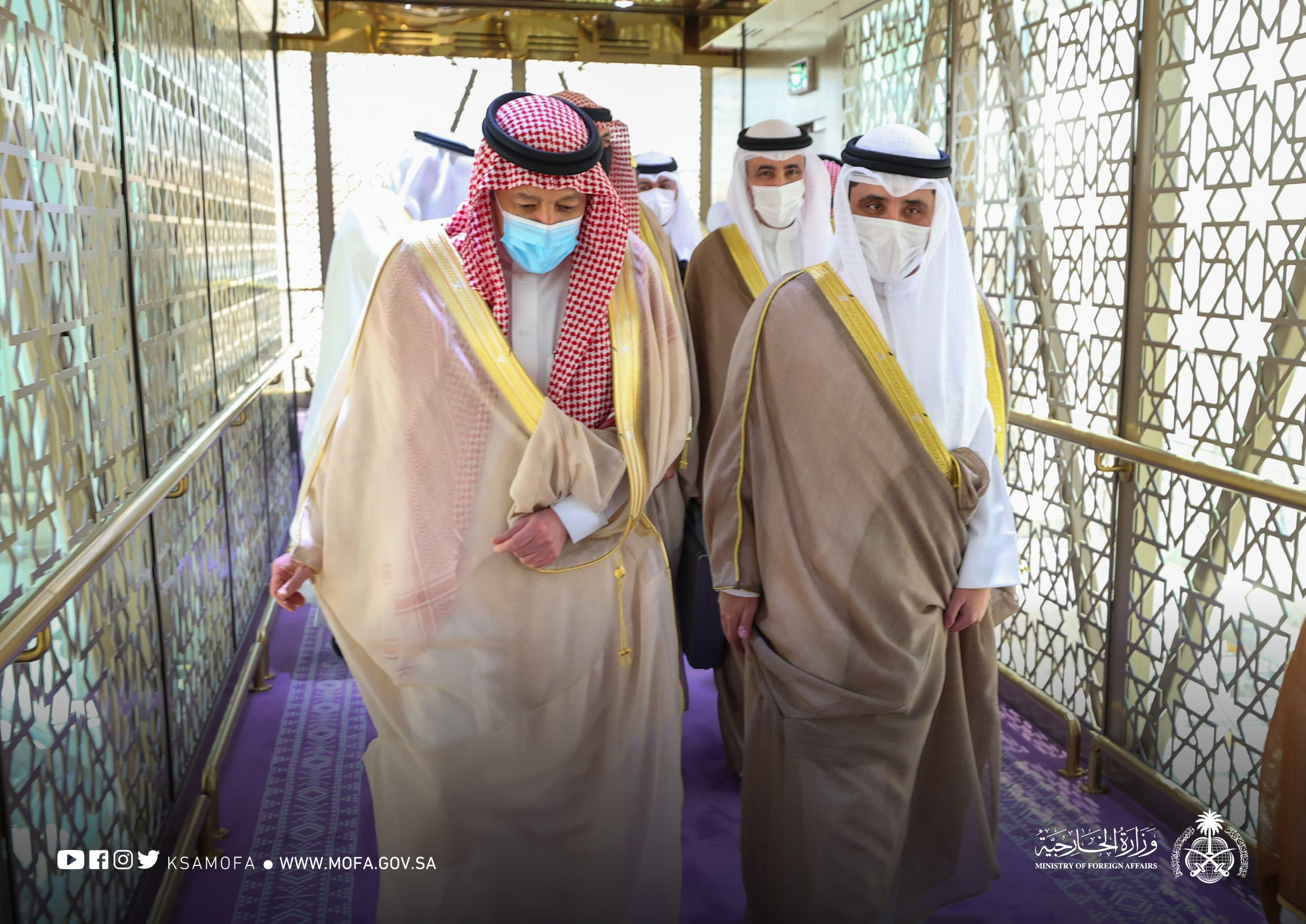 Saudi Arabia's Deputy Minister of Foreign Affairs Waleed al-Khuraiji receives Kuwait's Minister of Foreign Affairs. (KSAMOFA)