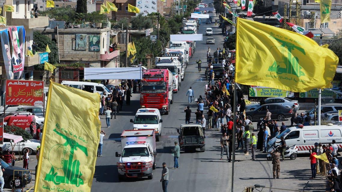 قافلة من الصهاريج محملة بالمازوت الإيراني قادمة إلى لبنان (رويترز)