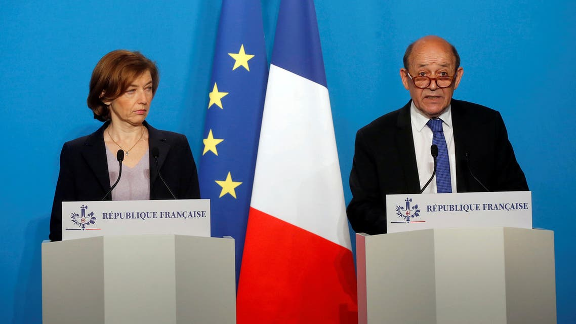 French Minister for Foreign Affairs Jean-Yves Le Drian and French Minister of the Armed Forces Florence Parly make an official statement in the press room at the Elysee Palace, in Paris, France, April 14, 2018. (File photo: Reuters)