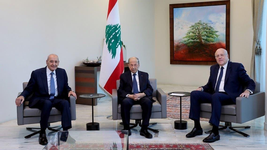 Lebanon's President Michel Aoun meets with PM Najib Mikati and Speaker Nabih Berri, Sept. 13, 2021. (Reuters)