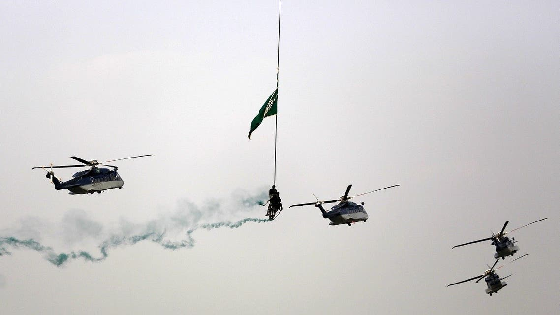 Helicopters fly in formation during a military parade in preparation for the annual Haj pilgrimage in Mecca. (File Photo: Reuters)