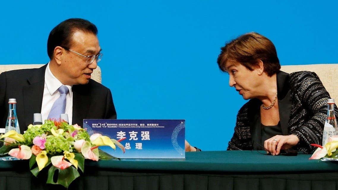 IMF Managing Director Kristalina Georgieva talks to Chinese Premier Li Keqiang before a news conference in Beijing, Nov. 21, 2019. (Reuters)