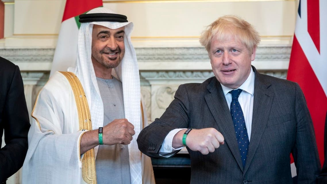 LONDON, 16th September, 2021 (WAM) -- His Highness Sheikh Mohamed bin Zayed Al Nahyan, Crown Prince of Abu Dhabi and Deputy Supreme Commander of the UAE Armed Forces, and Boris Johnson, Prime Minister of the United Kingdom (UK), have discussed the historic friendship ties and joint strategic cooperation between the UAE and the UK and ways to enhance relations in the best interest of the two sides. (Supplied: WAM)