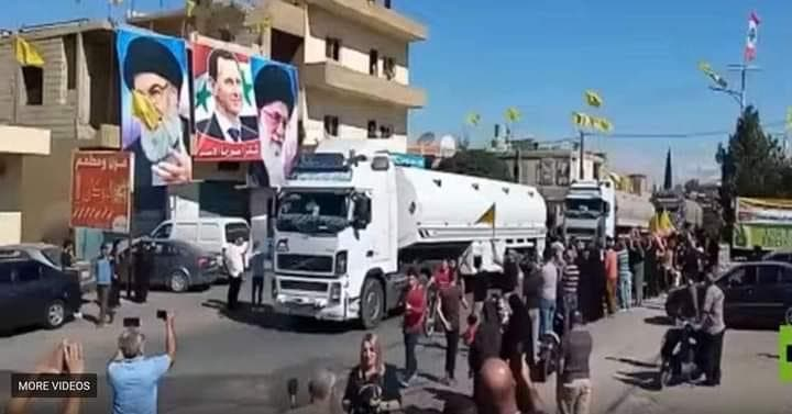 شاحنات النفط الإيراني في لبنان.. وصور لخامنئي وبشار الأسد وحسن نصرالله