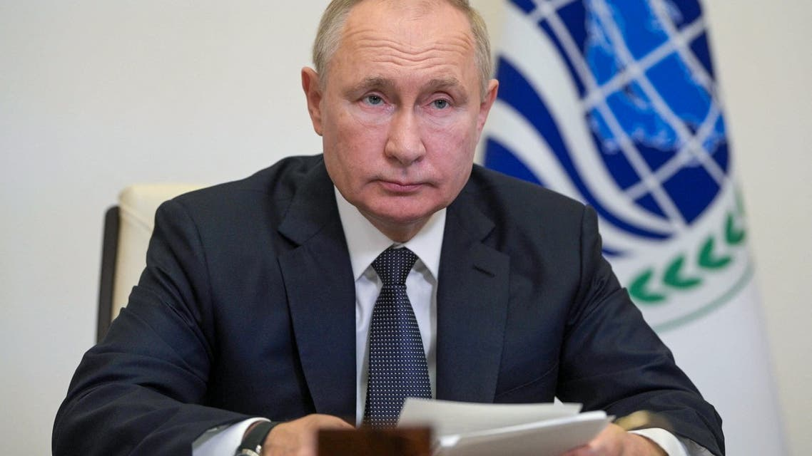 Russian President Vladimir Putin attends a meeting of heads of member states at the Shanghai Cooperation Organization (SCO) summit, held in Dushanbe, via video link at the Novo-Ogaryovo state residence outside Moscow on September 17, 2021. (File photo: AFP)
