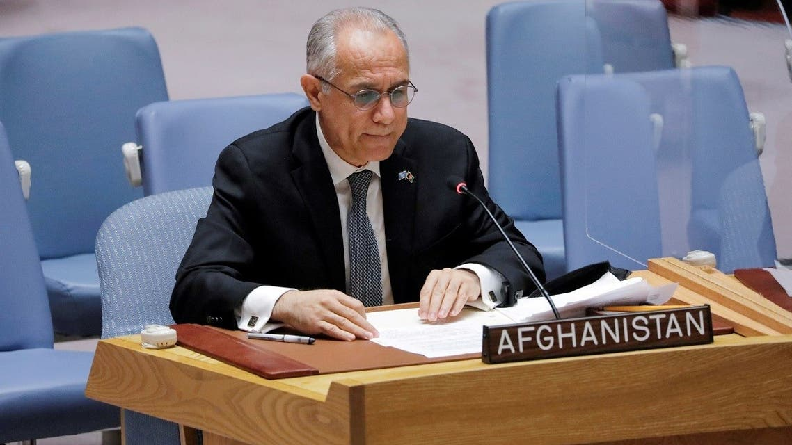 Afghanistan's UN ambassador Ghulam Isaczai addresses the United Nations Security Council regarding the situation in Afghanistan at the United Nations in New York City, New York, US, August 16, 2021. (Reuters/Andrew Kelly)