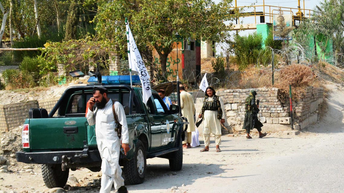 Taliban members inspect near the site of a blast in Jalalabad on September 18,2021. (AFP)