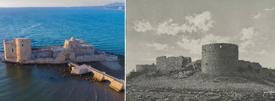 قلعة سانت لويس، يمين، حيث وجدوا المقبرتين، هي غير التي بناها الصليبيون في 1228 بصيدا، وصورتها الى اليسار