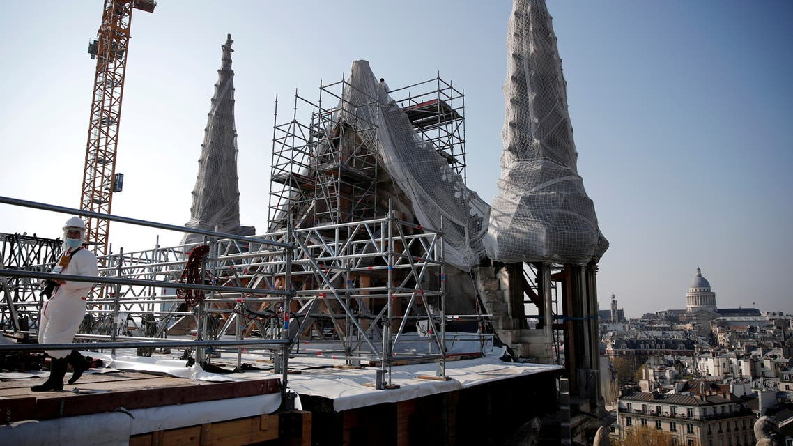 A view shows the reconstruction site of the roof of the Notre-Dame de Paris Cathedral, which was damaged in a devastating fire two years ago, as restoration works continue, in Paris, France, April 15, 2021. (File Photo: Reuters)
