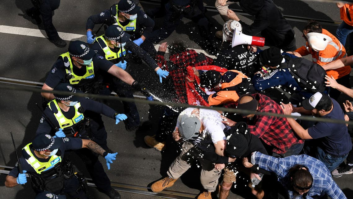 Victoria police clash with protesters during a The Worldwide Rally for Freedom demonstration in Melbourne, Australia September 18, 2021. (Reuters)