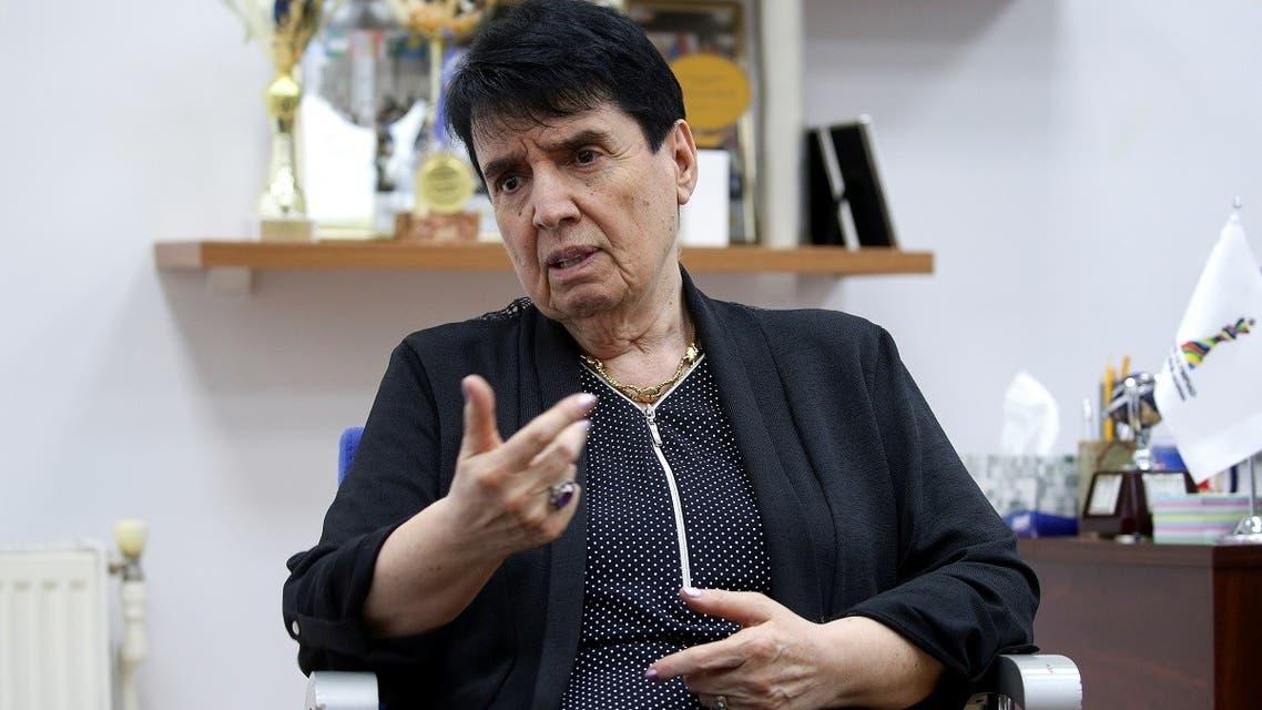 Nona Gaprindashvili, a Soviet-era chess grandmaster from Georgia, speaks during an interview in Tbilisi, Georgia May 10, 2019. (Reuters)