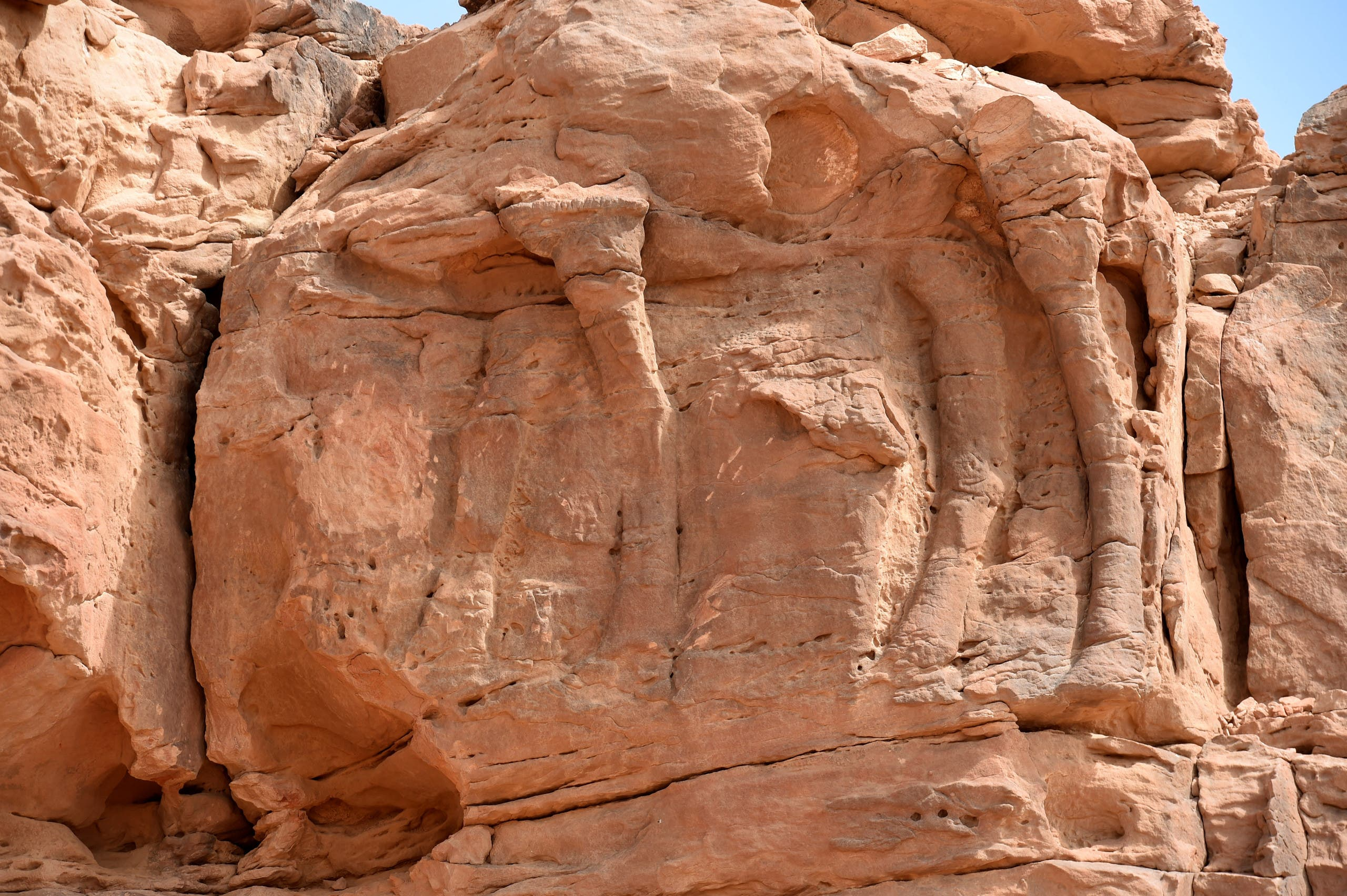 This file photo taken on February 22, 2018, the site of an archaeological discovery about eight kilomtres north of the city of Sakaka in Saudi Arabia's northwestern al-Jouf province, with a carved camel's body.  (AFP)
