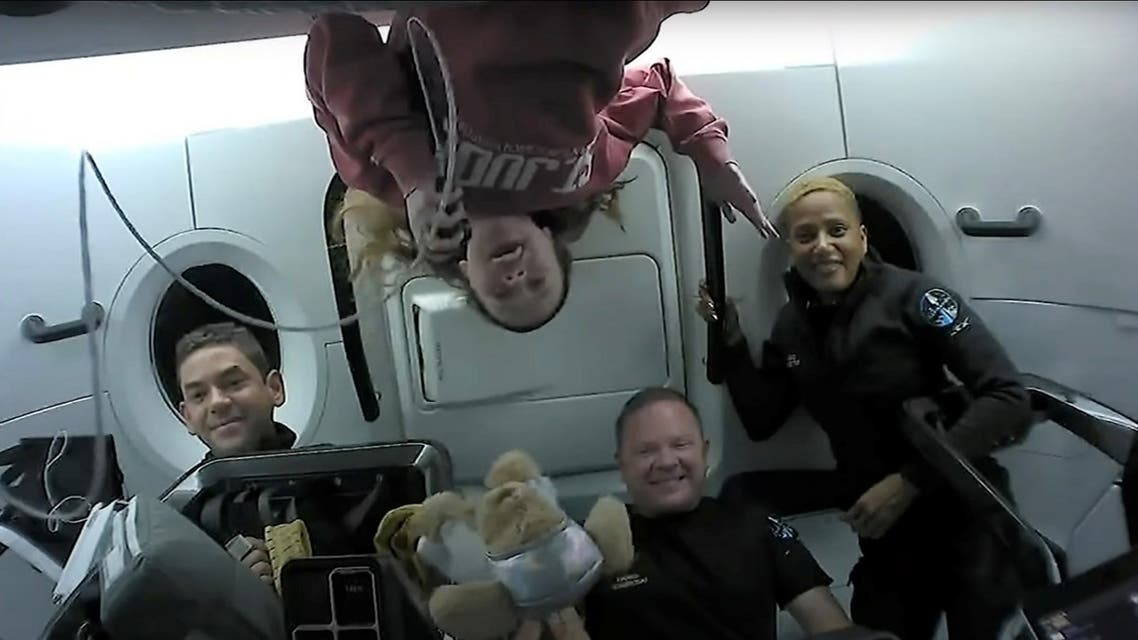 Inspiration4 crew Jared Isaacman, Sian Proctor, Hayley Arceneaux, and Chris Sembroski chatting with St. Jude patients from space in this handout photo released on September 17, 2021. (SpaceX/Handout via Reuters)