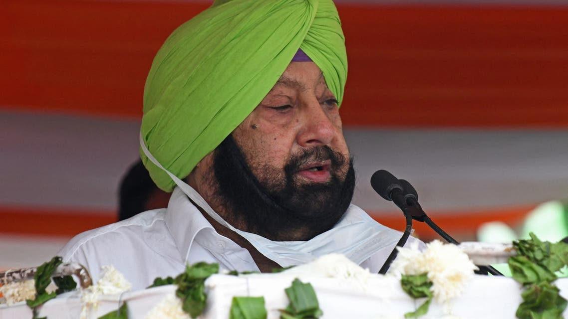 ndia's Punjab state chief minister Captain Amarinder Singh (C) addresses a gathering during the inauguration ceremony of the Jallianwala Bagh Centenary Memorial on the eve of India's 75th Independence Day celebrations at Anand Amrit Park in Amritsar on August 14, 2021. (File photo: AFP)