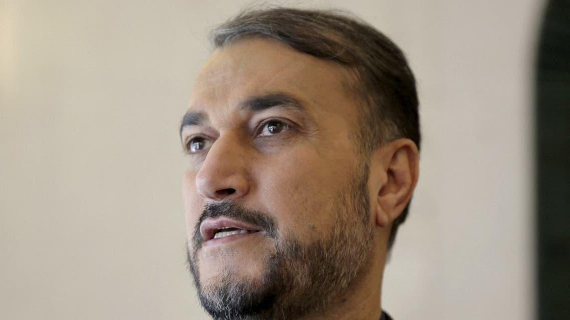Iran's FM Hossein Amir Abdollahian attends the Rafidain Center for Dialogue (RCD) Forum in Baghdad on February 04, 2019. (AFP)