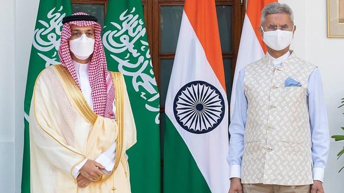 Saudi Arabia's Minister of Foreign Affairs Prince Faisal bin Farhan meets with India's Minister of External Affairs Subrahmanyam Jaishankar. (SPA)