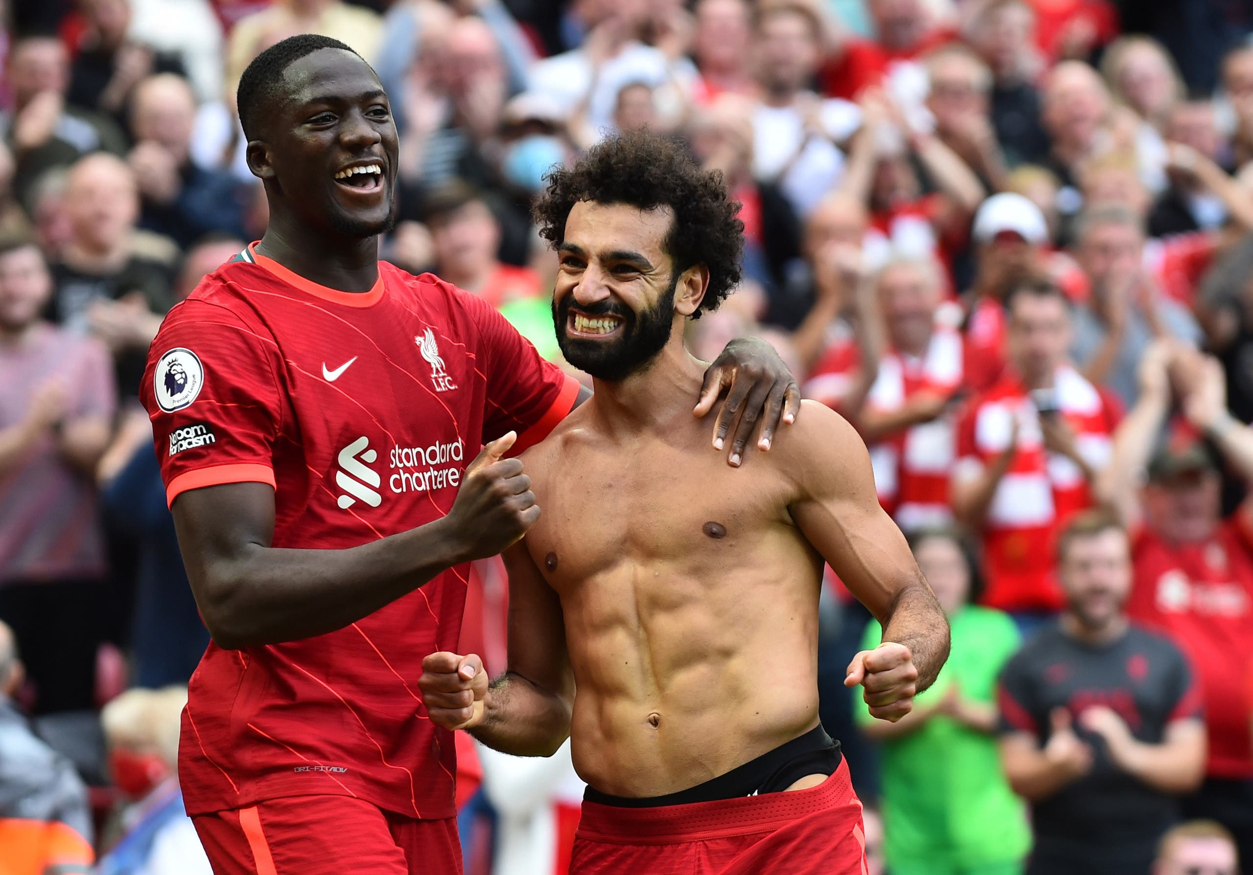 Mohamed Salah after scoring the second goal for Liverpool