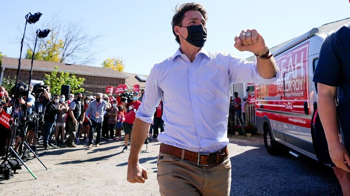 Canada's Liberal Prime Minister Justin Trudeau greets supporters during an election campaign stop in Richmond Hill, Ontario Canada September 18, 2021. (Reuters)