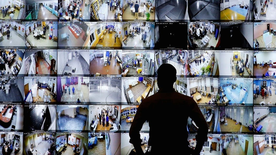 A man looks on a screen showing polling stations, at the headquarters of Russia's Central Election Commission in Moscow, Russia September 19, 2021. (Reuters)