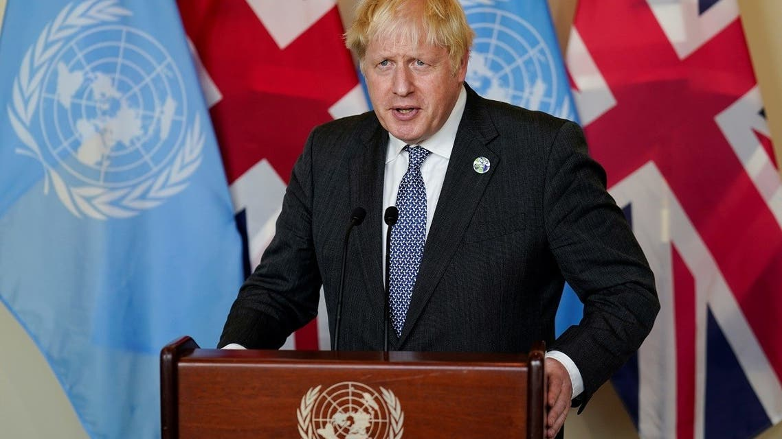 British Prime Minister Boris Johnson speaks to reporters after meeting with Antonio Guterres, Secretary General of the United Nations, during the 76th Session of the UN General Assembly, at United Nations headquarters, in New York, US, September 20. (Reuters)