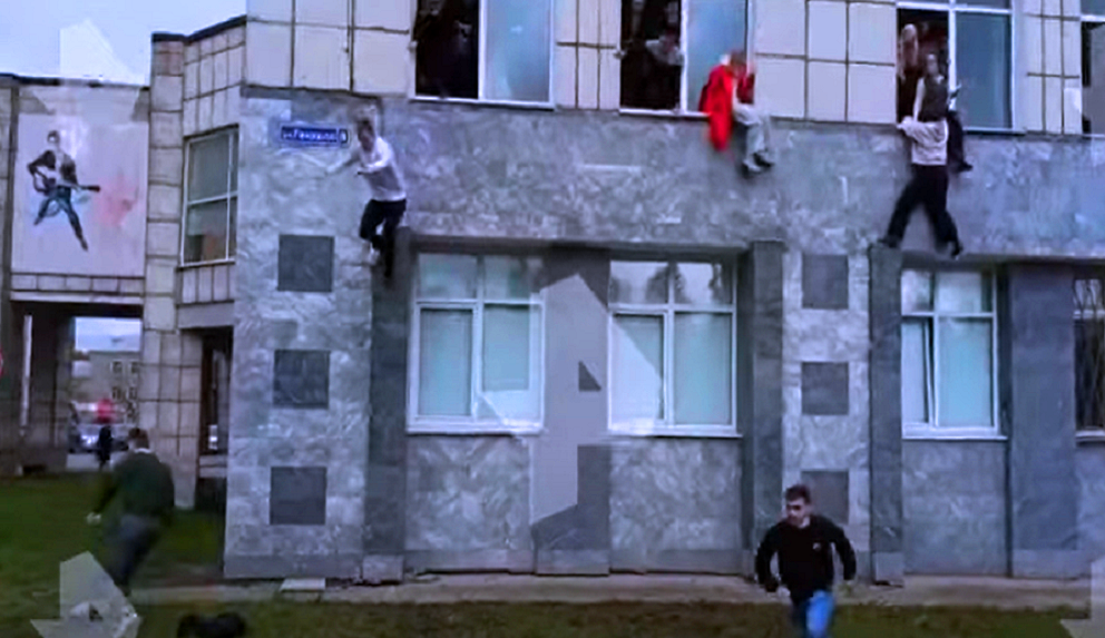 Watch the shooting at a Russian university as students jump out of windows