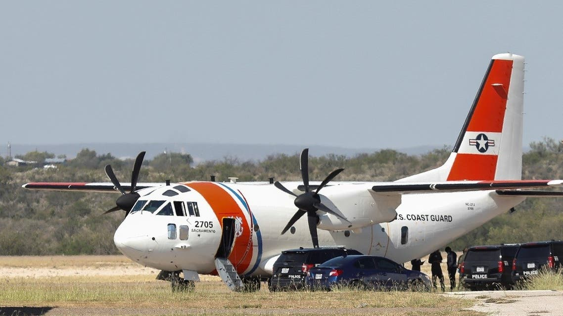 People board an U.S. Coast Guard airplane at the Del Rio International Airport as U.S. authorities accelerate removal of migrants at border with Mexico, in Del Rio, Texas, U.S., September 19, 2021. (Reuters)