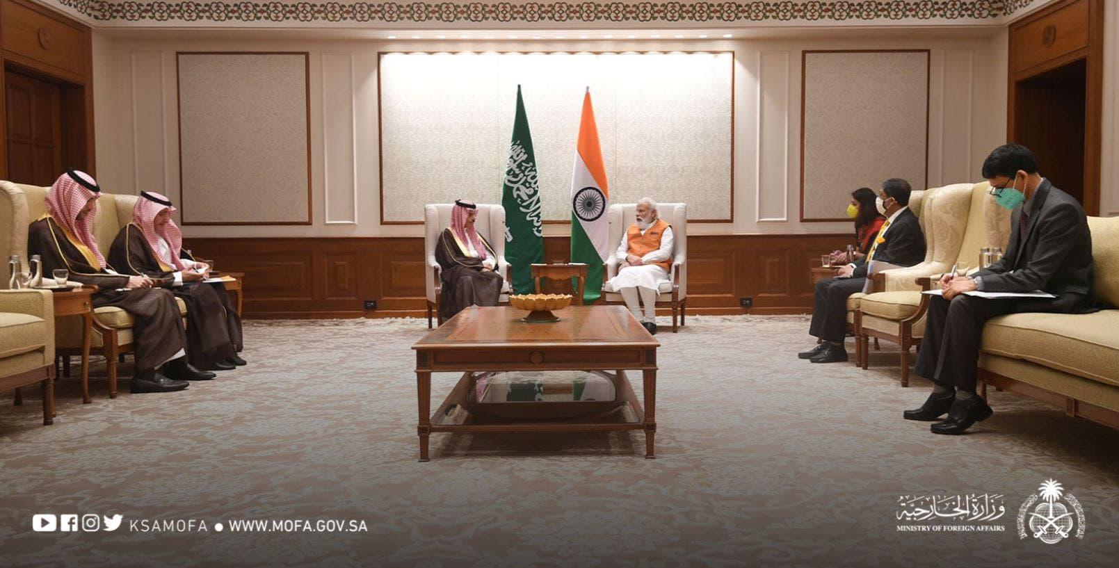 Saudi Arabia's Prince Faisal bin Farhan and India's Narendra Modi. (MoFA)