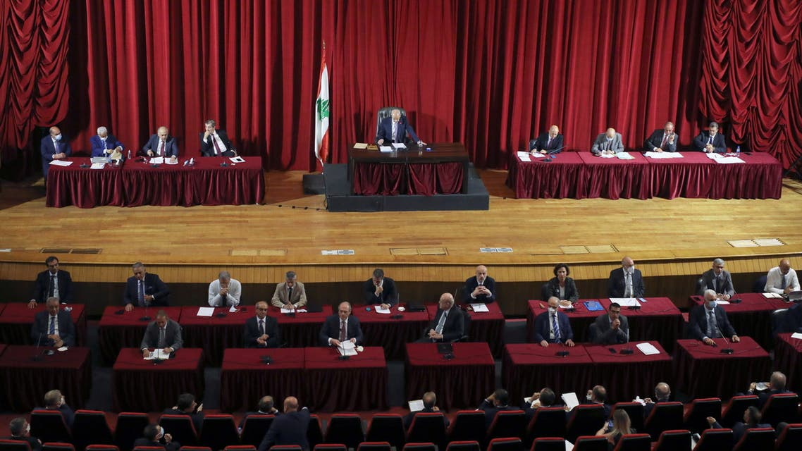Lebanese Parliament Speaker Nabih Berri heads a parliamentary session, to discuss the new cabinet's policy program and hold a vote of confidence at UNESCO palace in Beirut, Lebanon September 20, 2021. (Reuters)