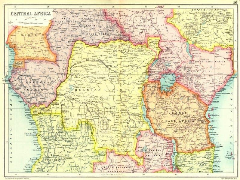 خريطة تقسيم مناطق وسط أفريقيا عام 1907