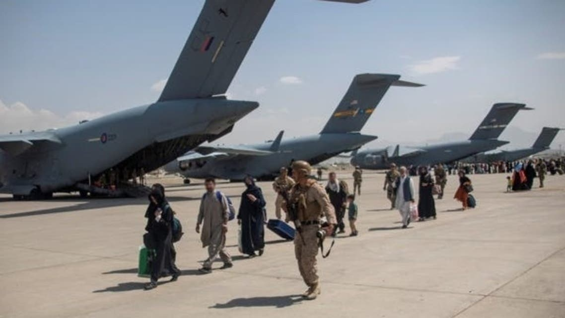 British forces at Kabul airport last month
