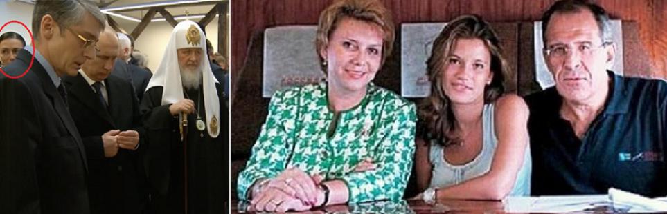 مع زوجته وابنتهما الوحيدة، وصورة للعشيقة تظهر خلف بوتين