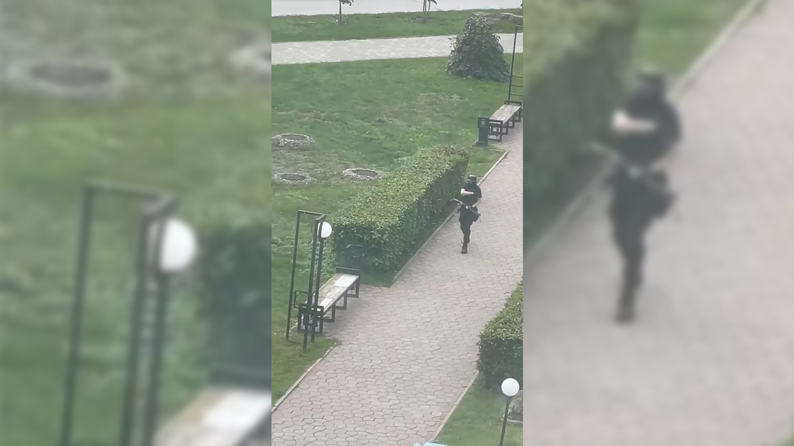 A student gunman who opened fire at a university in the Russian city of Perm is seen from a window. (Twitter)
