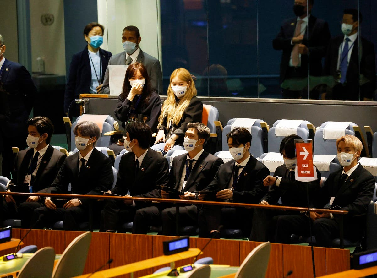 Members of the South Korean boy band BTS wear face masks before they take turns speaking at the SDG Moment event as part of the UN General Assembly 76th session General Debate in UN General Assembly Hall at the United Nations Headquarters, September 20, 2021 in New York City. (John Angelillo-Pool/Getty Images via AFP)