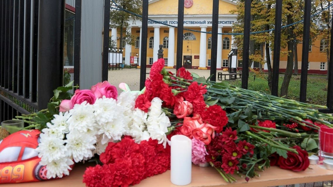 A view shows a makeshift memorial for victims of a deadly shooting at Perm State University in Perm, Russia September 21, 2021. (Reuters/Stringer)