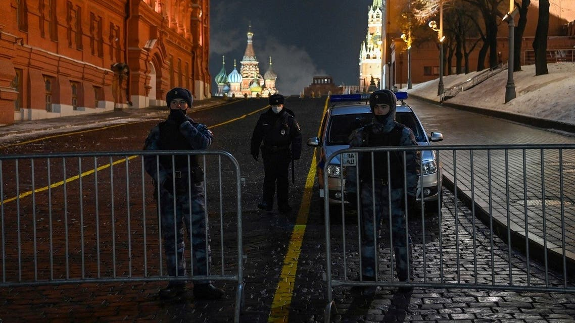 Law enforcement officers block an entrance to Red Square in Moscow February 2, 2021. (Kirill Kudryavtsev/AFP)