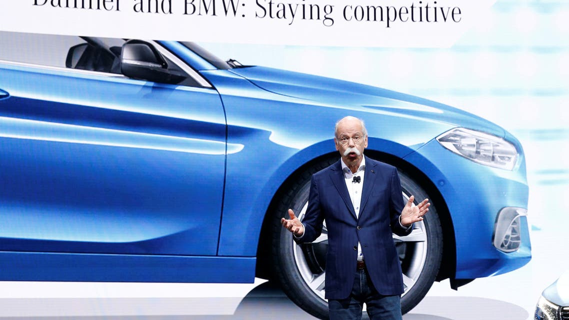Dieter Zetsche, CEO of Daimler AG, talks about the Daimler - BMW collaboration on the Mercedes stand at the 89th Geneva International Motor Show in Geneva, Switzerland March 5, 2019. (Reuters)