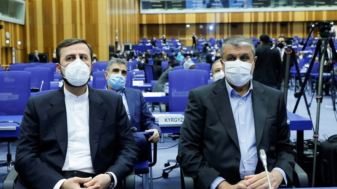 Iranian Atomic Energy Agency (IAEA) Chief Mohammad Eslami and Iran's ambassador to the IAEA Kazem Gharibabadi attend the opening of the IAEA General Conference at their headquarters in Vienna, Austria, September 20, 2021. (Reuters)