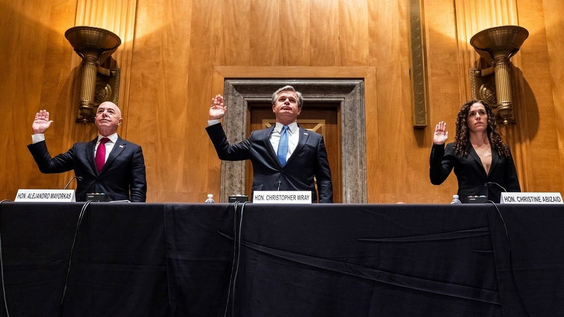 Secretary of Homeland Security Alejandro Mayorkas, FBI Director Chris Wray, and Director of the National Counterterrorism Center Christine Abizaid at a hearing to discuss security threats, Sept. 21, 2021. (Reuters)