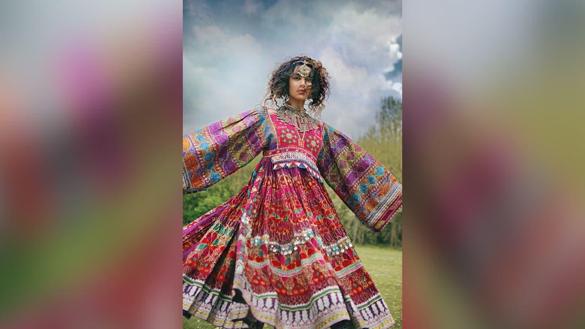 A model wears a dress by Afghan-Australian designer Anjilla Seddeqi at a runway show in Sydney, Australia, in March 2019. (Handout/Fashions of Multicultural Australia via Thomson Reuters Foundation)