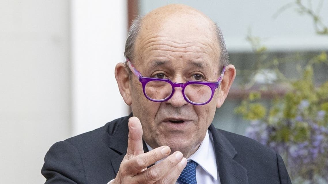 French Minister for Foreign Affairs Jean-Yves Le Drian speaks during a joint press conference at Farmleigh House and Estate in Dublin on May 20, 2021. (AFP)