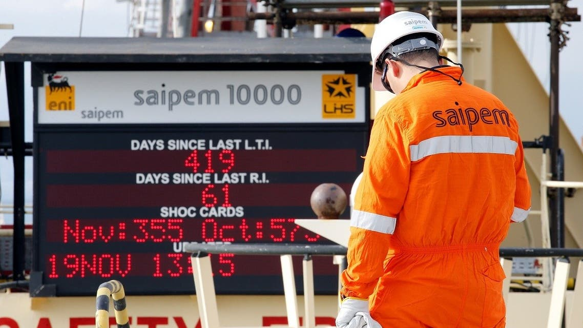 A staff member is seen on the Saipem 10000 deepwater drillship in Genoa's harbour, Italy, November 19, 2015. Picture taken November 19, 2015. (Reuters)