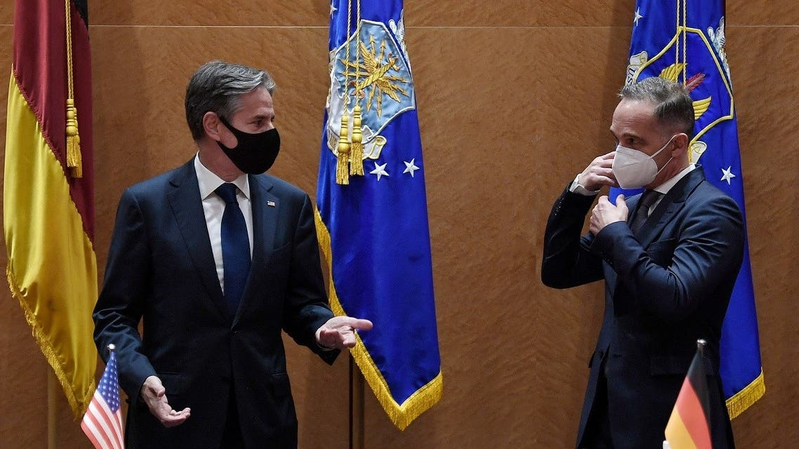 Secretary of State Antony Blinken and German FM Heiko Maas meet at Ramstein Air Base, Sept. 8, 2021. (Reuters)