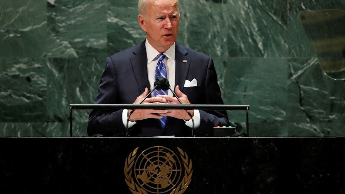President Joe Biden addresses the 76th Session of the UN General Assembly in New York, Sept. 21, 2021. (Reuters)