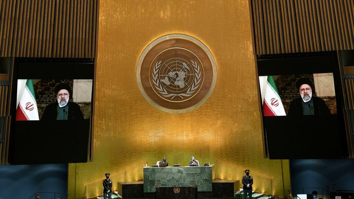 Iran's President's Ebrahim Raisi remotely addresses the UN General Assembly by pre-recorded video, Sept. 21, 2021. (Reuters)