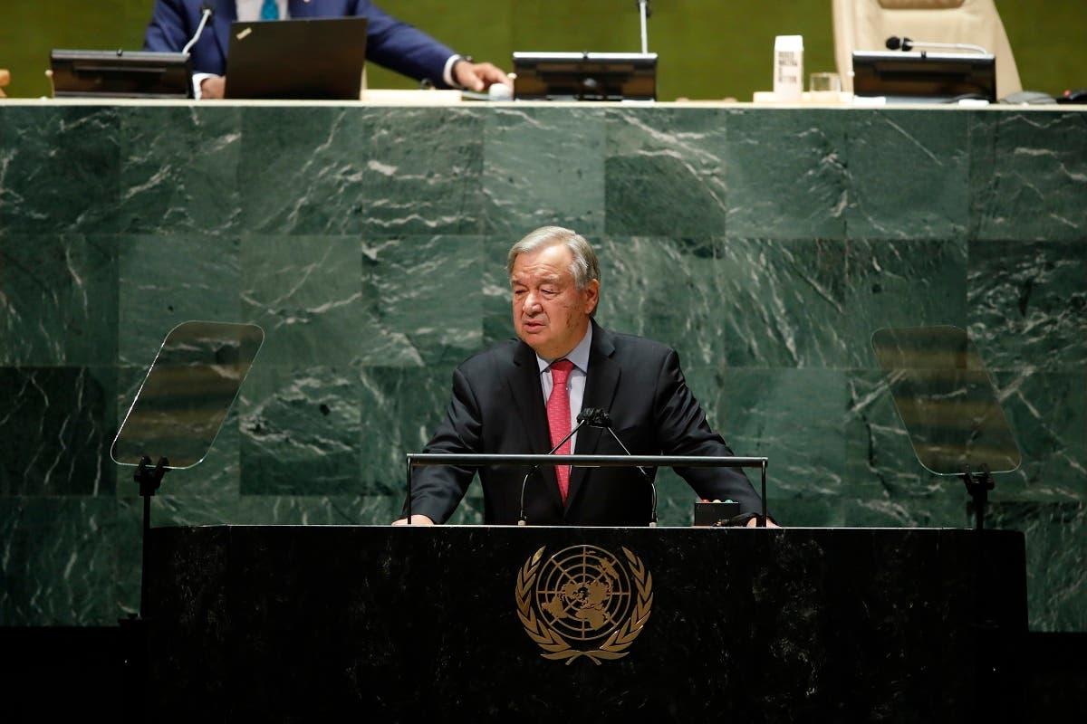 United Nations Secretary General Antonio Guterres addresses UNGA, Sept. 21, 2021. (AP)