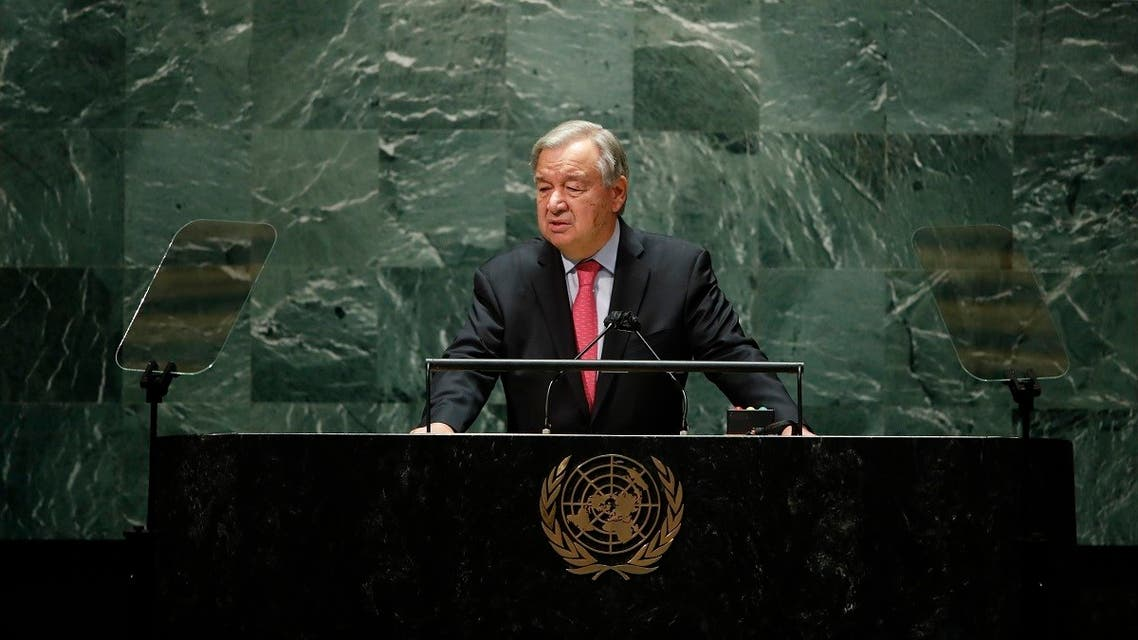United Nations Secretary General Antonio Guterres addresses the 76th Session of the U.N. General Assembly, Tuesday, Sept. 21, 2021, at United Nations headquarters in New York. (AP)
