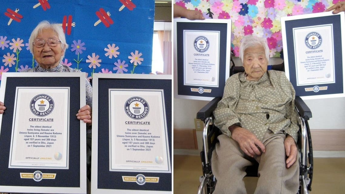 Two Japanese sisters, aged 107 years and 330 days, are now Guinness World Record holders after being officially announced the world's oldest living identical twins. (Supplied)