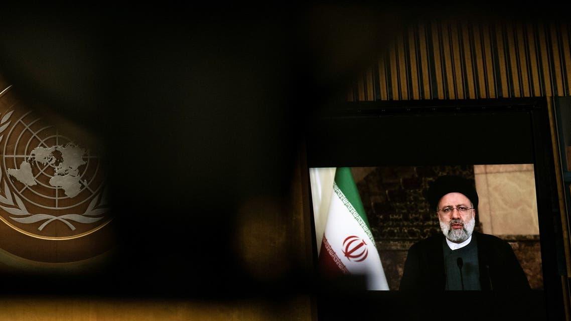 صورة لرئيسي أثناء القاء كلمته المسجلة أمام الأمم المتحدة (21 سبتمبر 2021- رويترز)