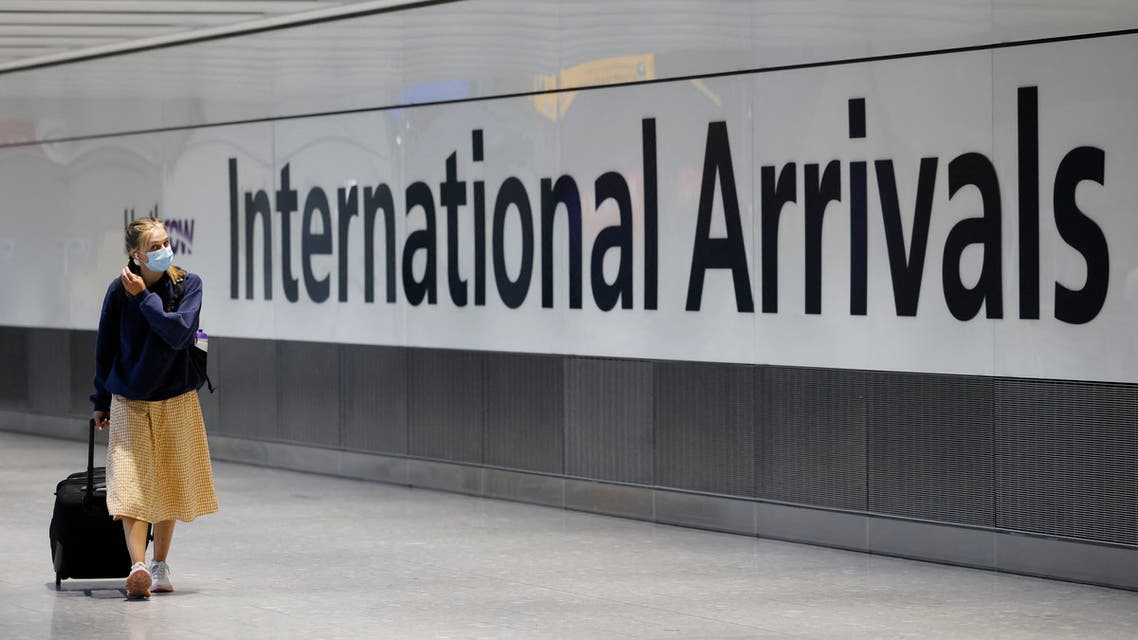 Travellers arrive at Heathrow's Terminal 5 in west London on August 2, 2021. (File photo: AFP)